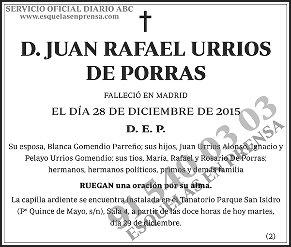 Juan Rafael Urrios de Porras